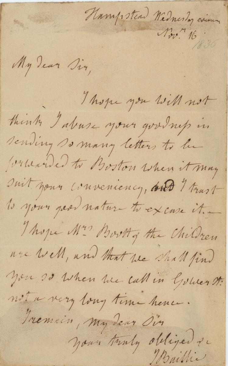 Joanna Baillie letter My Dear Sir