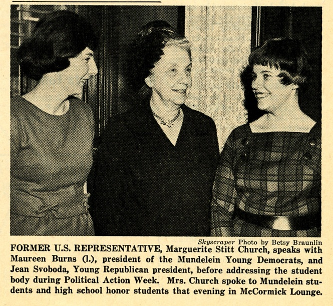 Former Congresswoman Meets with Young Republicans and Young Democrats, Skyscraper, February 26, 1964