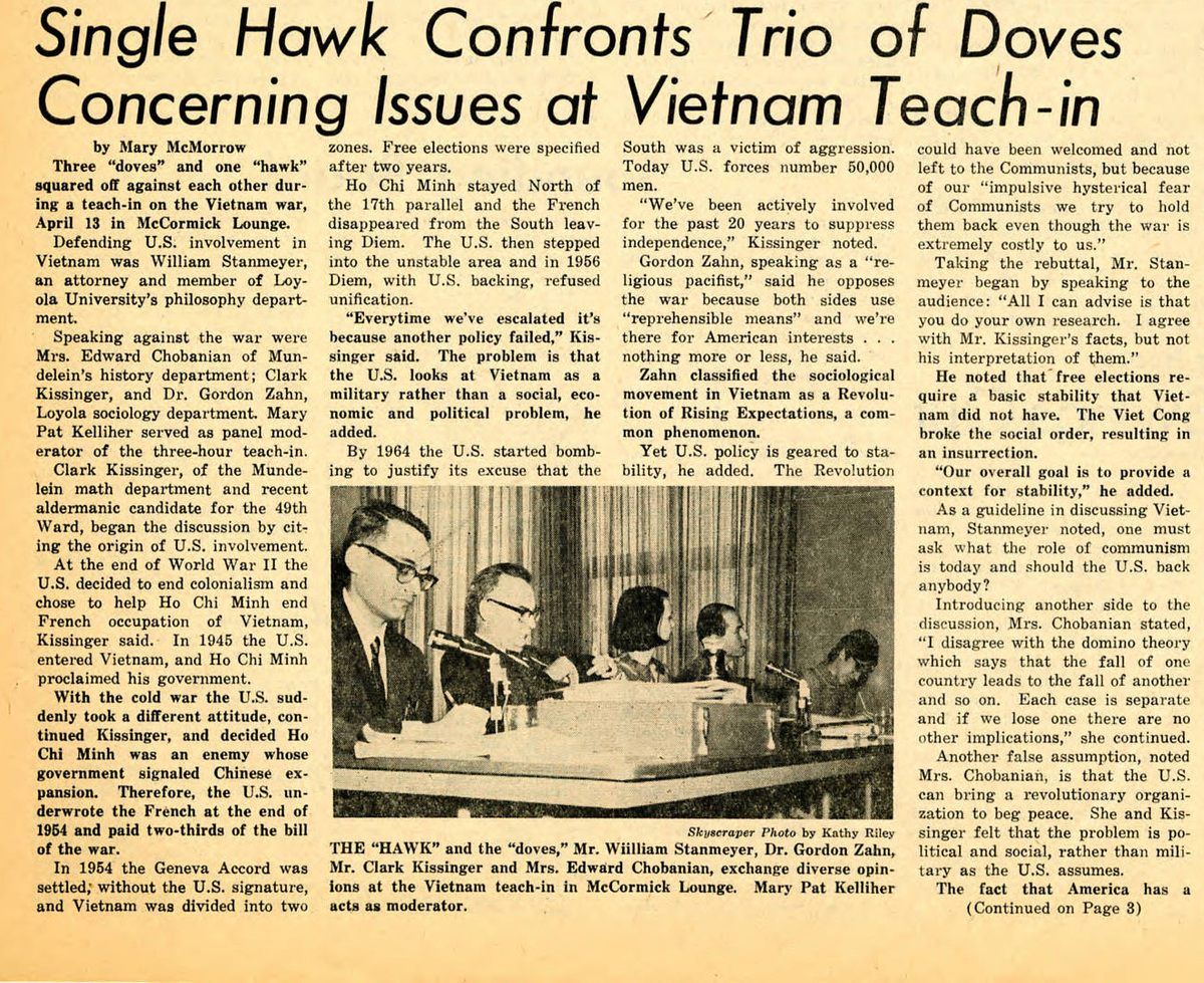 """Single Hawk Confronts Trio of Doves Concerning Issues at Vietnam Teach-In,"" Skyscraper, April 26, 1967"