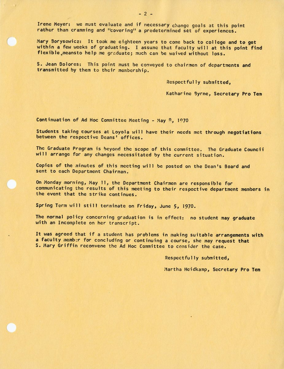 Report of a Meeting of the Ad Hoc Committee established to consider means for assisting students in the event of a continuing College institutional strike May 8, 1970002.jpg