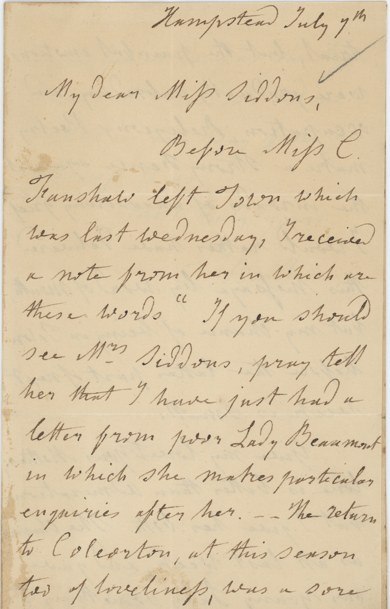 Joanna Baillie letter, page 1