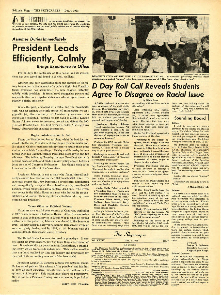 """""""D Day Roll Call Reveals Students Agree to Disagree on Racial Issue,"""" Skyscraper, December 4, 1963"""