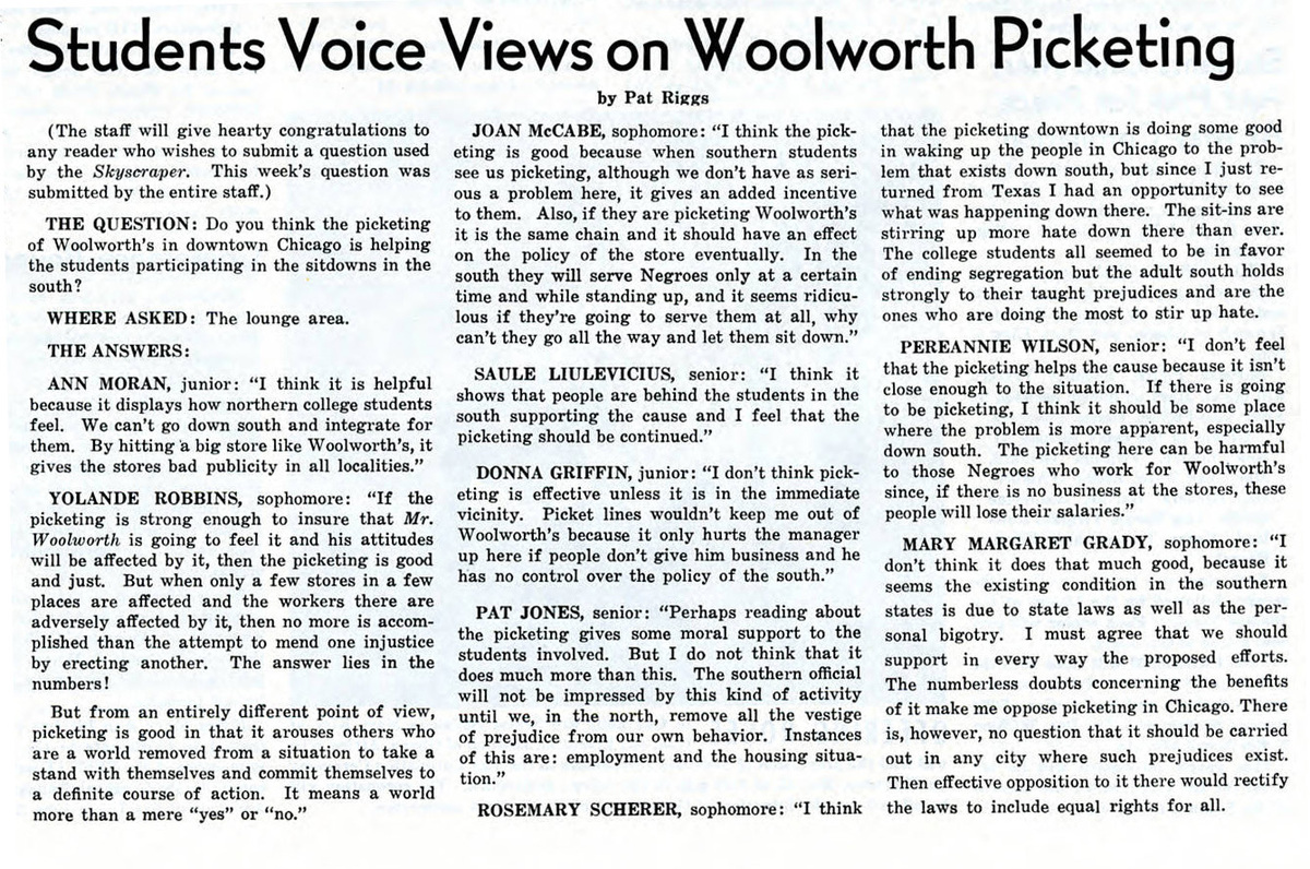 """""""Students Voice Views on Woolworth Picketing,"""" Skyscraper, May 4, 1960"""