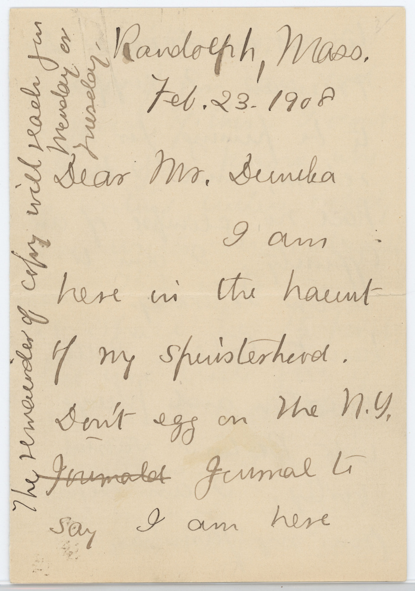 Mary E. Wilkins Freeman letter 1908 page 1