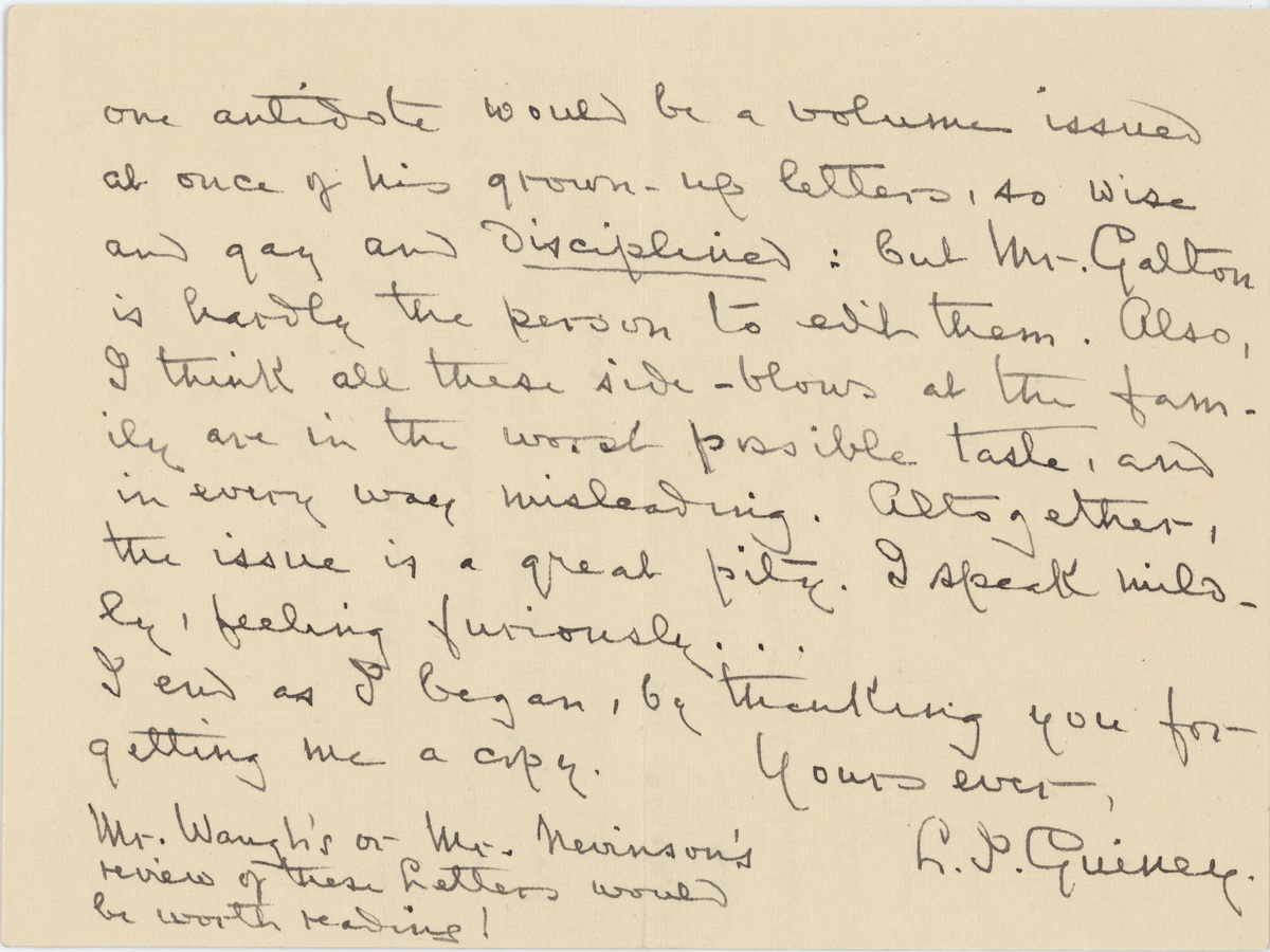 Louise Imogen Guiney letter 1919 page 3