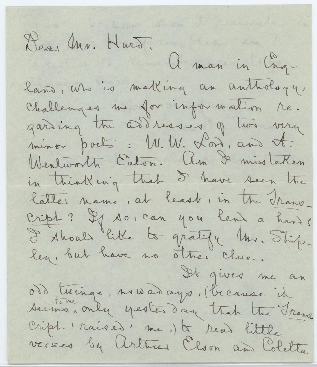 Louise Imogen Guiney letter  Mr. Hurd page 1