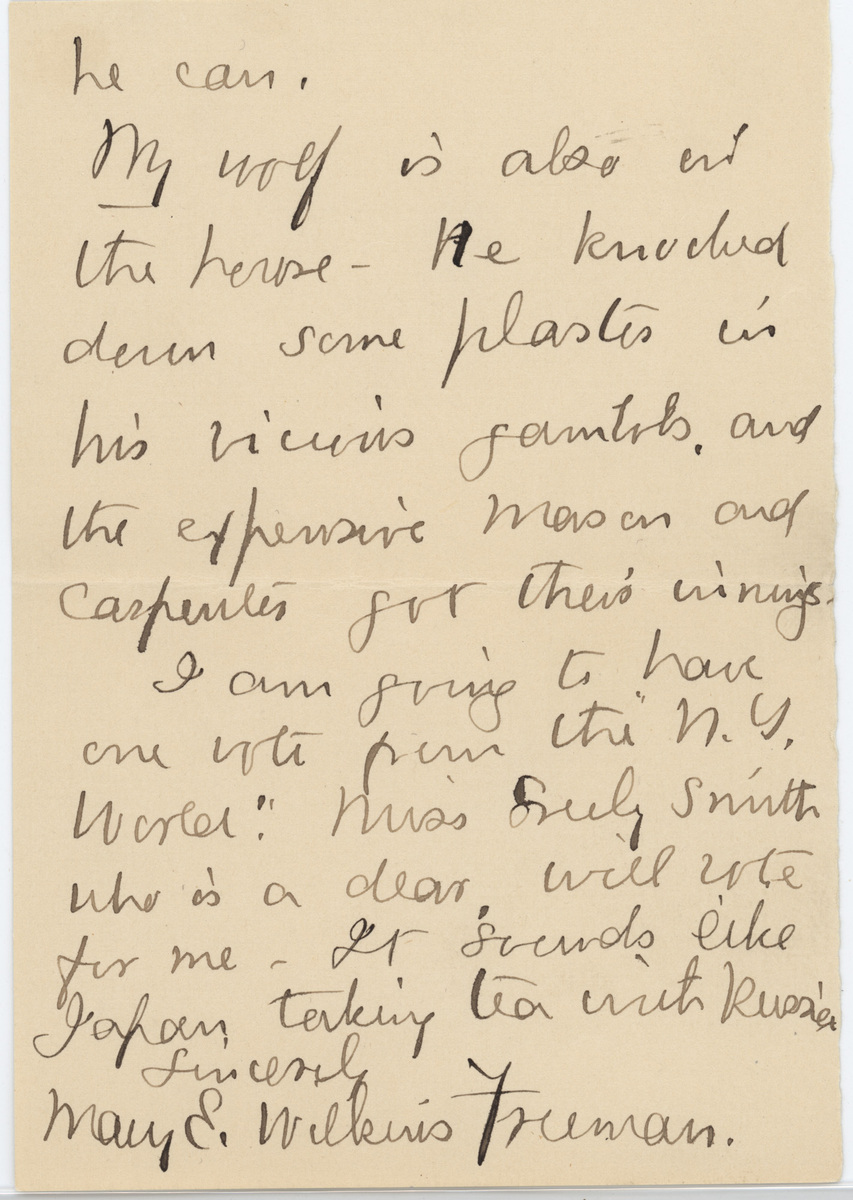 Mary E. Wilkins Freeman letter 1908 page 5