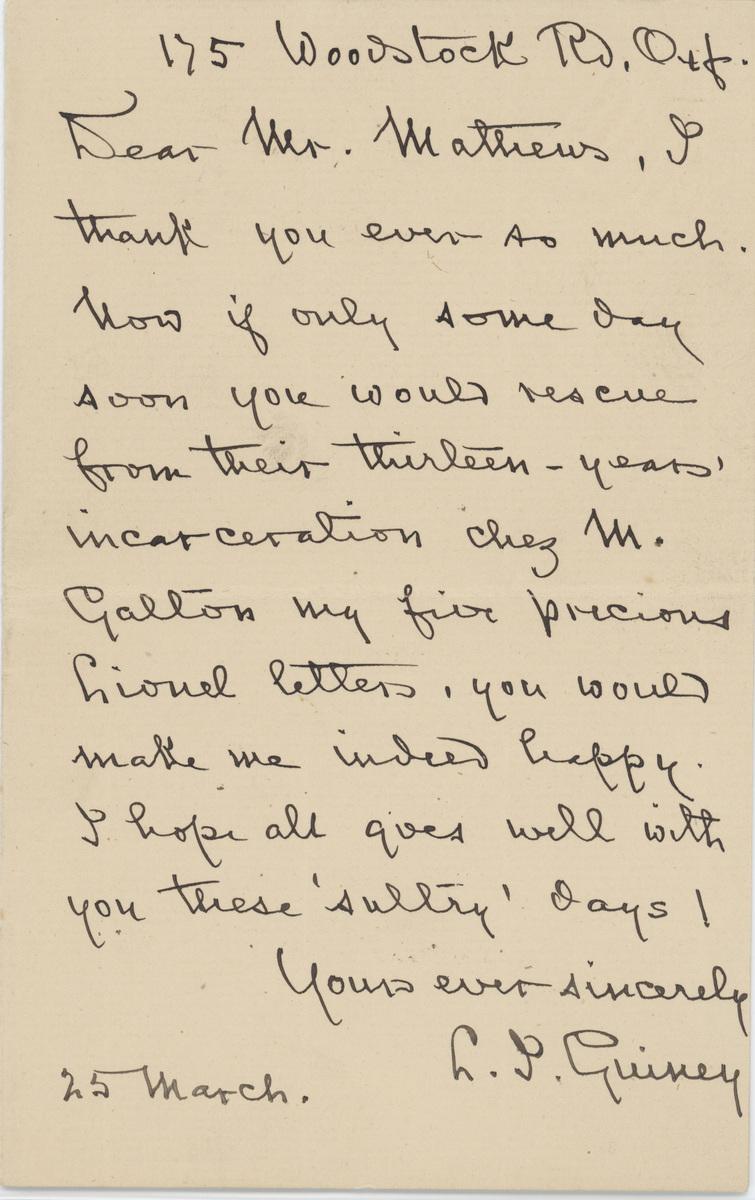 Louise Imogen Guiney letter  Dear Mr. Matthews