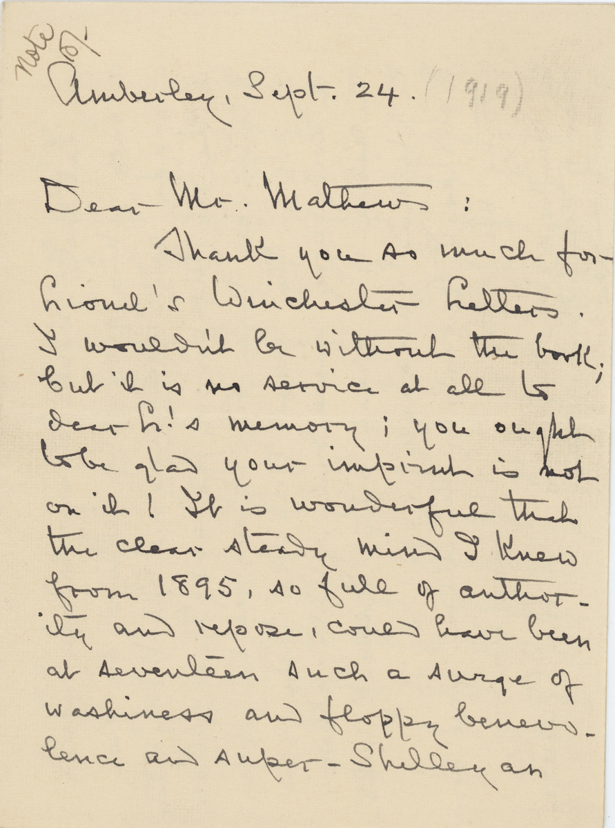 Louise Imogen Guiney letter 1919 page 1