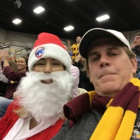 Watching Loyola game with Santa!
