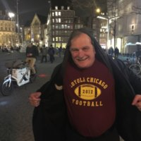 Celebrating with the Ramblers in Dam Square