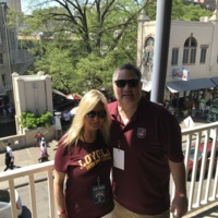 This is a picture of my husband and I in San Antonio prior to the game.