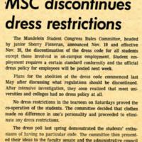 """""""MSC discontinues dress restrictions,"""" Skyscraper, November 22, 1968"""