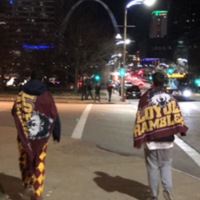 Strolling the streets of St. Louis after the MVC tournament win against Northern Iowa.