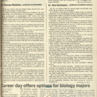 """""""Two Professors Discuss Nicaragua,"""" page one"""