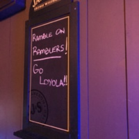 Support for the Ramblers wasn't just in Chicago. Chalkboard inside JP Kelly's Pub in Springfield, IL, the week of the Final Four