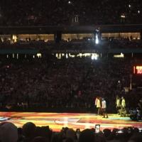 Player introductions before the Final Four game vs Michigan