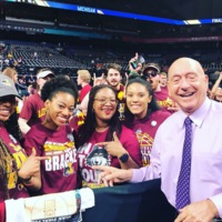 Before the Final Four game, meeting Dick Vitale