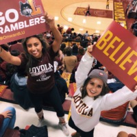 Cheering on our Ramblers at Gentile Arena during the Final Four