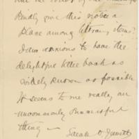 Sarah O. Jewett letter