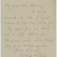 Mary E. Wilkins Freeman letter