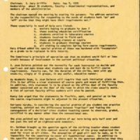 """Report of a Meeting of the Ad Hoc Committee established to consider means for assisting students in the event of a continuing College institutional strike,"" May 8, 1970"