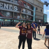 My friend and me outside the Alamodome