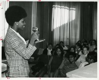 Photo, 1968 Sociology Major speaking out about black problems at a white college001.jpg